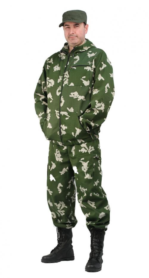 Костюм мужской Турист 1 летний, ткань Тиси сорочечная-облегченная, камуфляж Граница зеленая