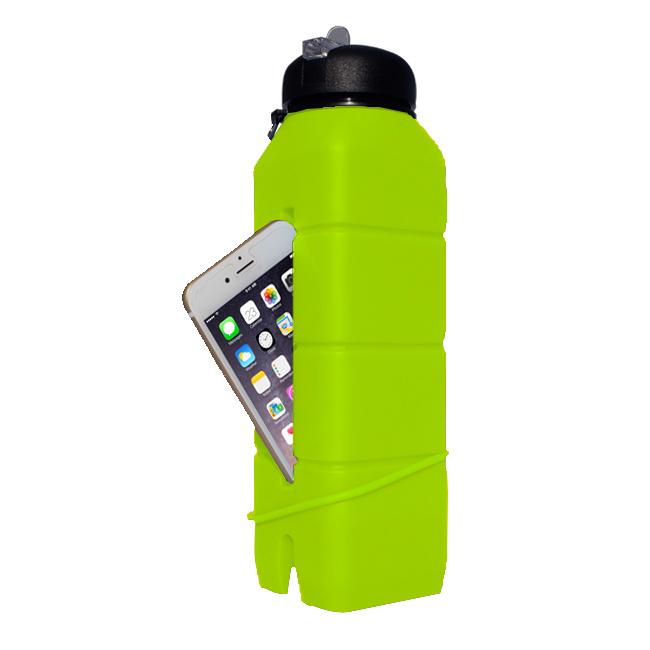 Бутылка-динамик из силикона Светло-зелёная/769мл, 1581 - артикул: 509880170