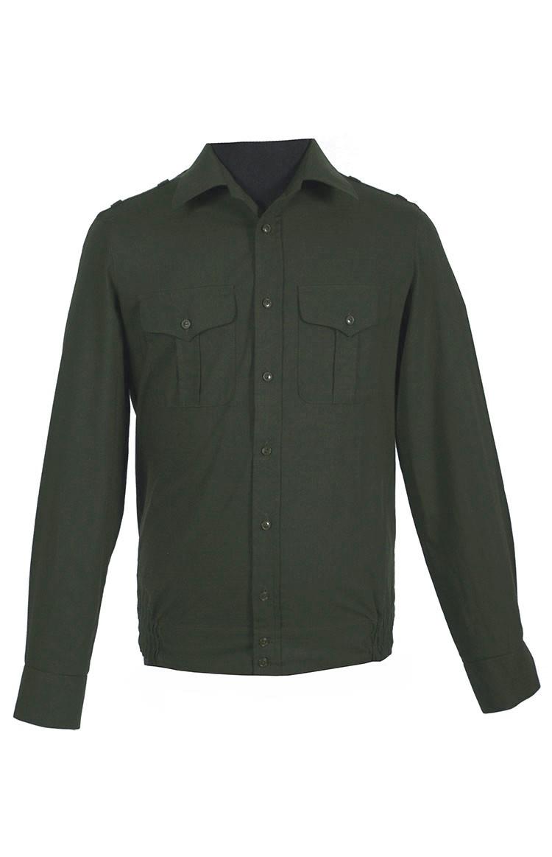 Рубашка офисная зеленая рип-стоп