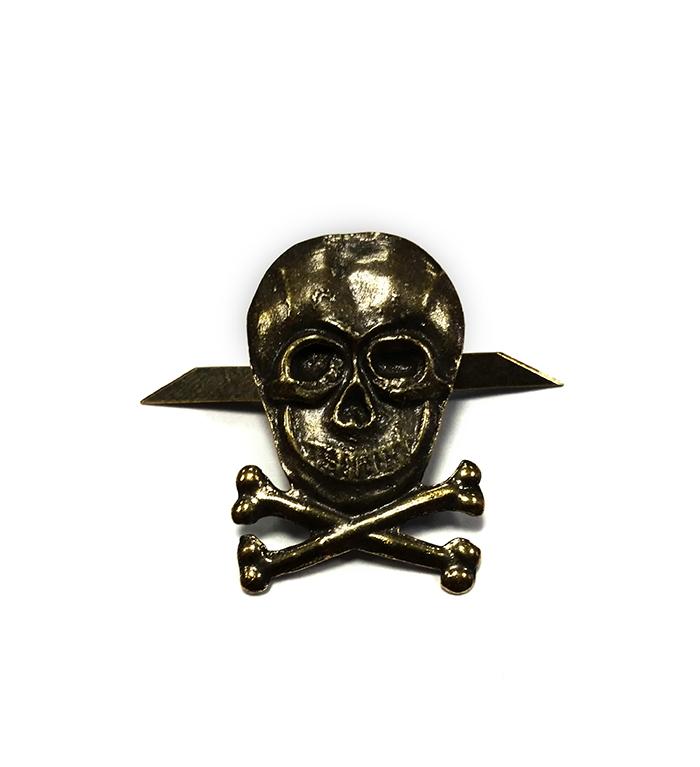 Нагрудный знак Череп кости металл