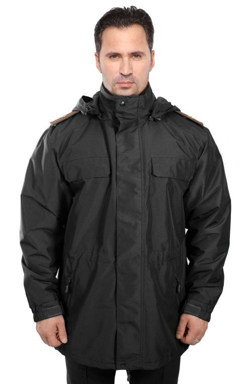 Куртка демисезонная под офисную форму черная воротник стойка (рип-стоп/черная) - артикул: 495550331