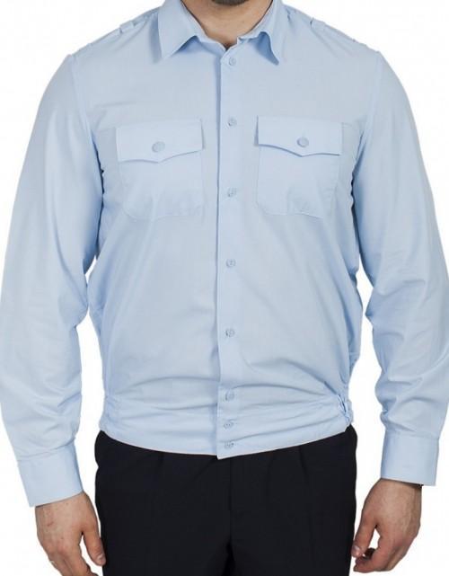 Рубашка Генерал Полиции серо-голубая с длинным рукавом индивидуальный пошив, Индивидуальный пошив - арт. 420040232