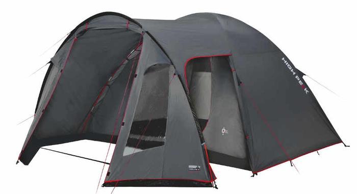 Палатка Tessin 4 темно-серый/красный, 370х240х170 см, 10222, Палатки четырехместные - арт. 1039570322