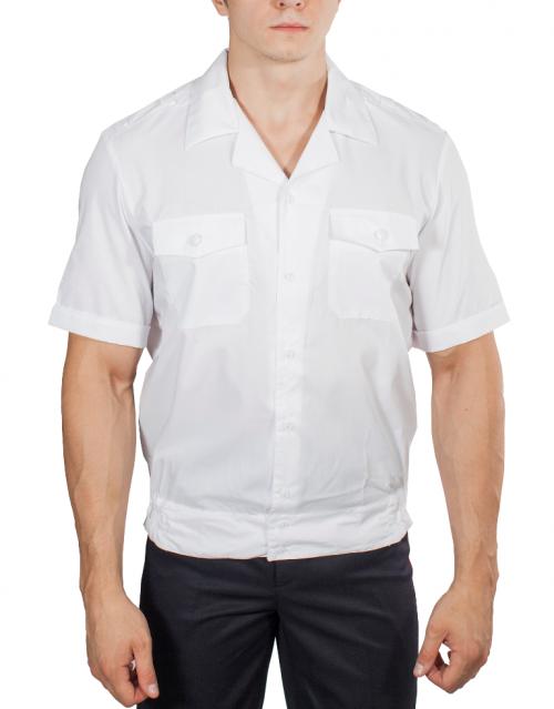 Купить Рубашка ПОЛИЦИЯ белая с коротким рукавом на резинке с отложным воротником, Магеллан