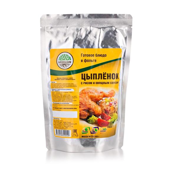 Готовое блюдо Цыпленок с рисом и овощн. соусом 325 г. (Кронидов)