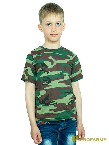 Купить Футболка детская Woodland dark green Camo короткий рукав, PROFARMY