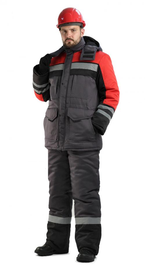 Костюм мужской Зимник зимний т.серый с красным и черным - артикул: 848940258