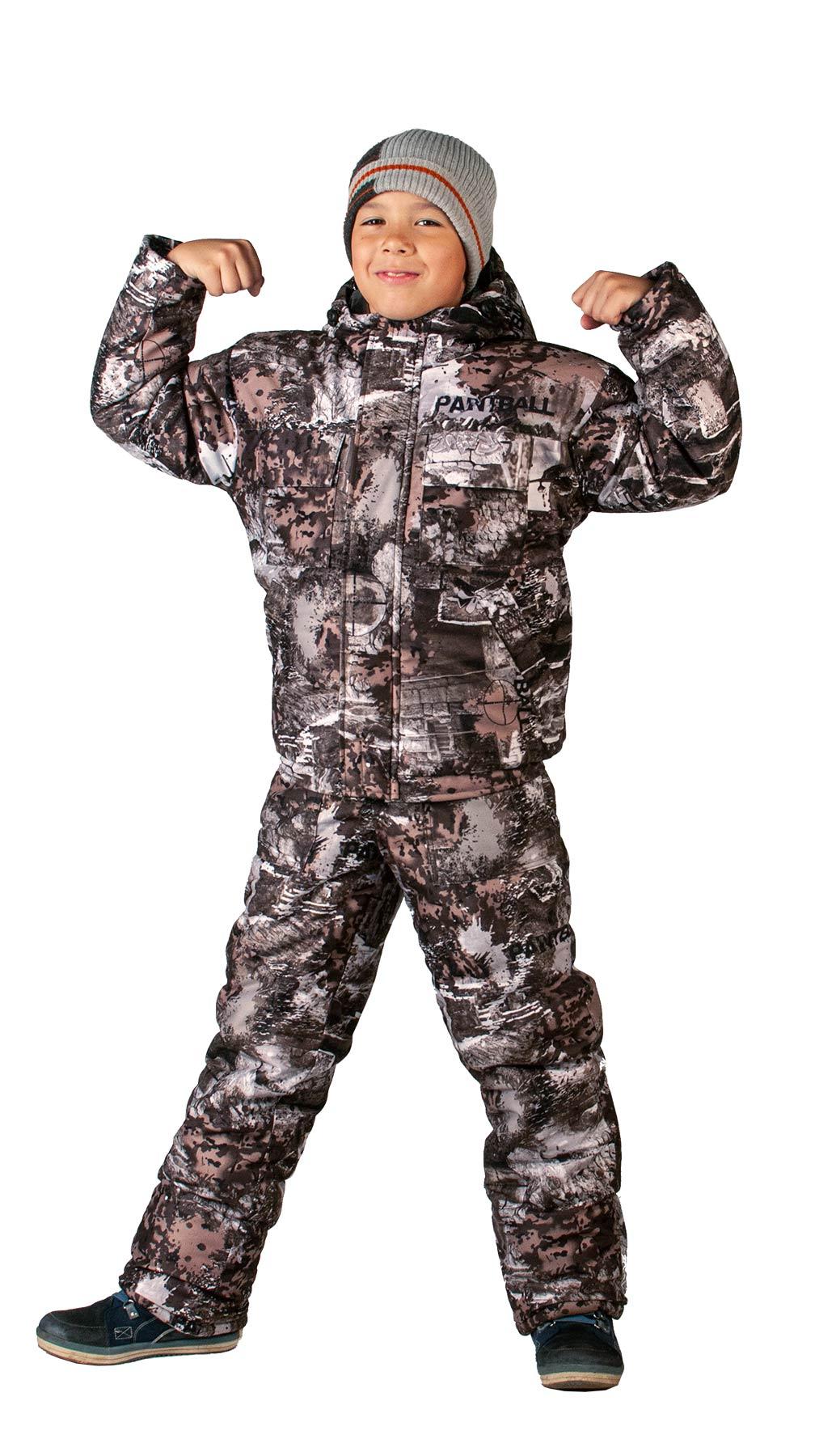 Костюм детский Тайга зимний, подклад фольгированный, ткань Алова-мембрана, камуфляж цвет Paintball, Костюмы для охоты - арт. 1128640399