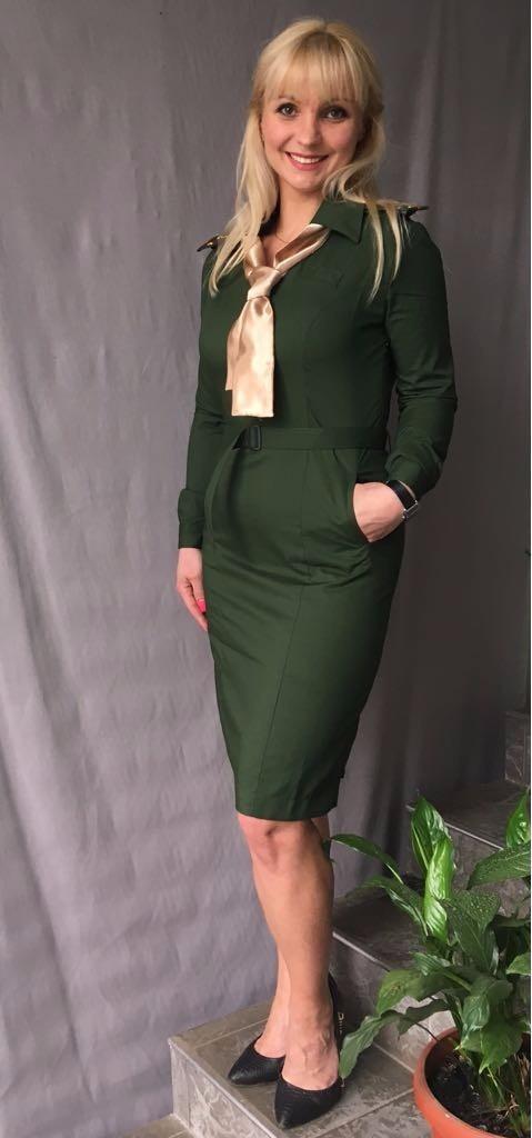 Купить Платье МО цвет зеленый, ткань рип-стоп вискоза 175, Патруль