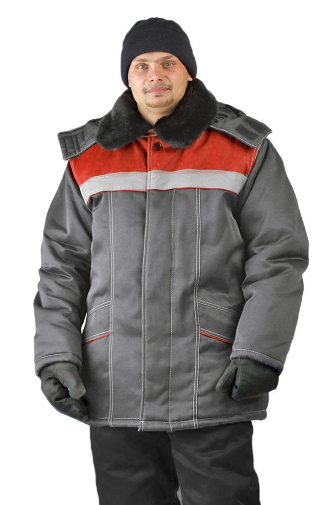 Купить Куртка зимняя УРАЛ цвет: темно серый/красный, Ursus