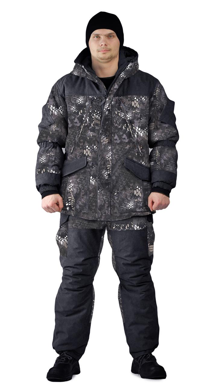 Костюм зимний ГЕРКОН куртка/брюки, камуфляж черный питон, ткань : Алова/Кошачий глаз, Костюмы для охоты - арт. 1135510399