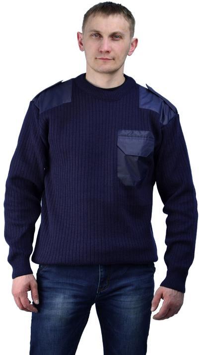 Джемпер п/ш форменный темно-синий с накладками