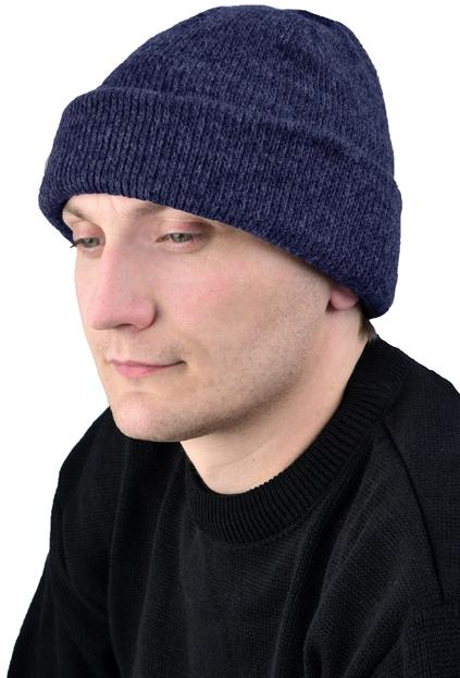 Шапка трикотажная темно-синяя, двойная вязка, 6 класс