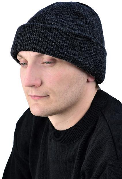 Шапка трикотажная черная, двойная вязка, 6 класс