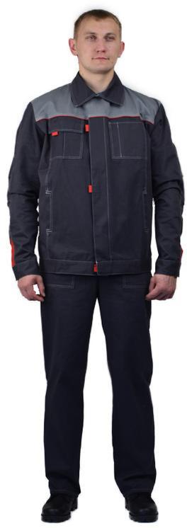 Костюм мужскойФлагман-Фаворитлетний с полукомбинезоном серый со светло- серым, ткань Саржа 100% хлопок