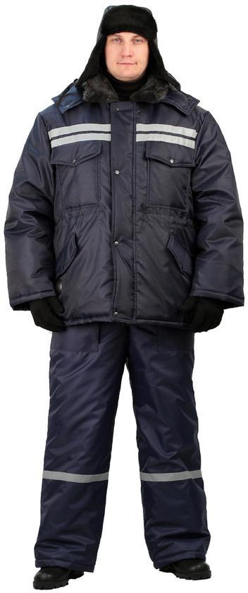 Костюм мужской Вектор зимний с полукомбинезоном темно-синий, Зимние брюки и полукомбинезоны - арт. 524110348