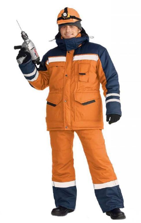 Костюм мужской  Зимник-Сигнал  зимний оранжевый с темно-синим, 100% полиэфир, Костюмы - арт. 521390127
