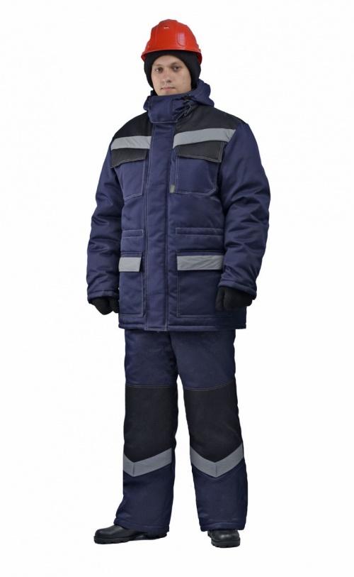 Костюм мужской  Передовик  зимний с полукомбинезоном темно-синий с черным - артикул: 669480348