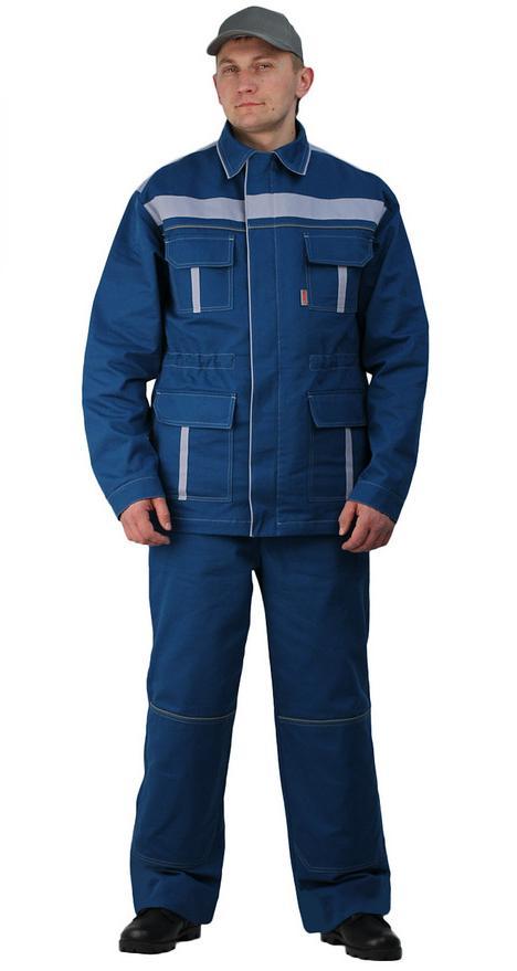 Купить Костюм мужской Актуал летний с брюками бирюзовый с серо-голубым 100% хлопок, Ursus