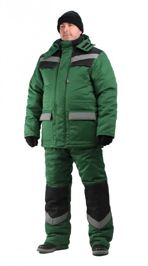Костюм мужской  Передовик  зимний с полукомбинезоном темно-зеленый с черным - артикул: 669160348