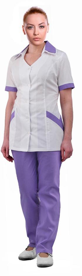 Костюм женский  Амелия  белый с сиреневым, Медицинские костюмы - арт. 526810249