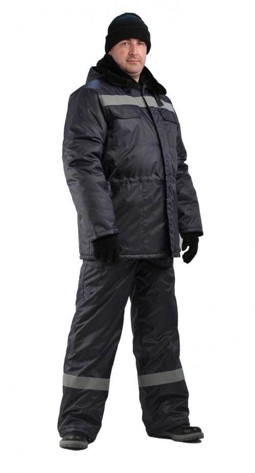 Костюм мужской  Строитель  зимний с полукомбинезоном темно-синий - артикул: 669240348
