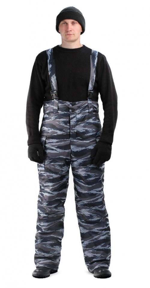 Брюки мужские Охрана зимние, камуфляж серо-голубой вихрь, Зимние брюки и полукомбинезоны - арт. 660570348