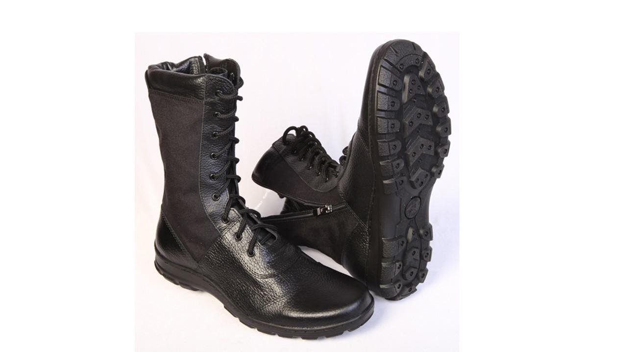 Ботинки с высоким берцем Утка BIZON с молнией, комбинированные: кожа хром Флотер/тк. Cordura