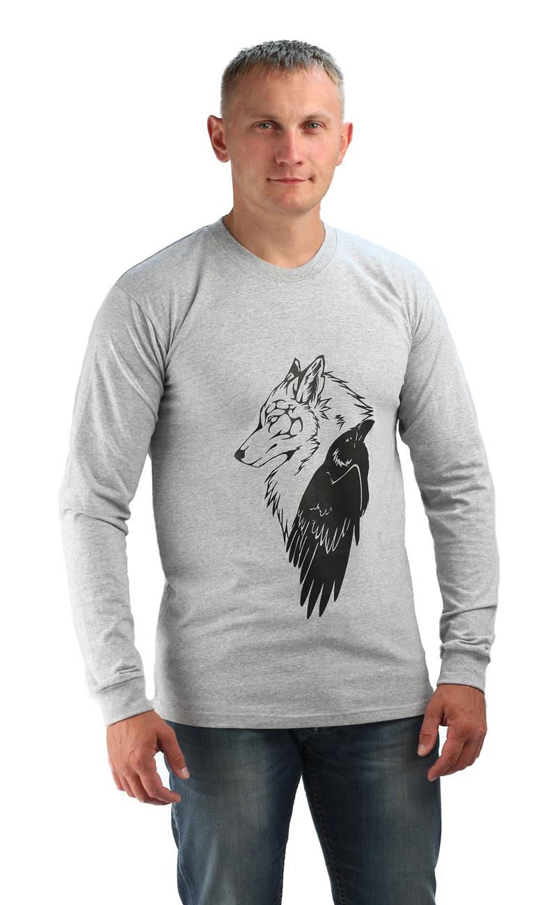 Футболка с длинным рукавом, цвет серый меланж, принт Волк/Ворон