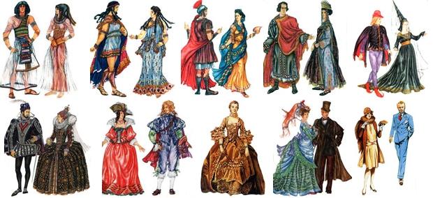 Добавить свои, одежда разных эпох в картинках